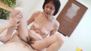 Shy Japanese grandma gets toys and cock in her old pussy